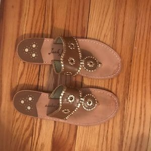 Jack Rogers Tan and Gold Sandals